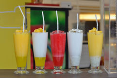 Various of smoothie beverage on table. Royalty Free Stock Photos