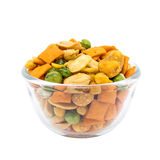 Various snack in a glass bowl Stock Images