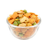Various snack in a glass bowl Stock Image