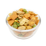 Various snack in a glass bowl Royalty Free Stock Photo