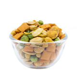 Various snack in a glass bowl Royalty Free Stock Images