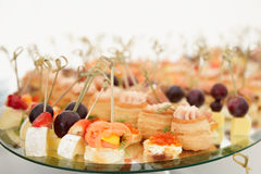 Various snacks on platter Royalty Free Stock Photo