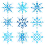 Various snowflake shapes decorative winter set vector illustration Stock Photography