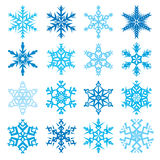 Various snowflake shapes decorative winter set vector illustration Stock Images