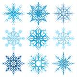 Various snowflake shapes decorative winter set vector illustration. On white background Royalty Free Stock Photo