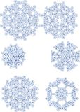 Various snowflakes. Six different snowflakes on a blue tint Vector Illustration