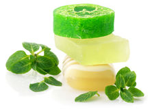 Various soap and mint Stock Photos