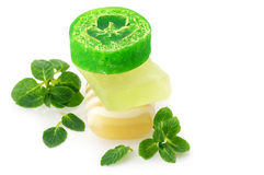 Various soap and mint Royalty Free Stock Images