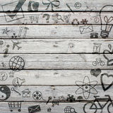 Various social icons on old wooden surface Royalty Free Stock Images