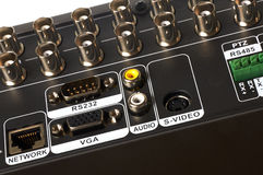 Various sockets. Back panel with various plugs of the videorecorder of system of video surveillance Royalty Free Stock Image
