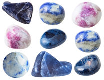 Various sodalite gem stones isolated on white Stock Photos