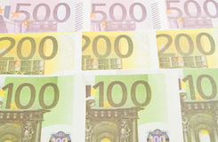 Various of some Euro banknotes. Background closeup Royalty Free Stock Photography