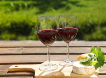 Various sorts of cheese and two glasses of the natural homemade. Various sorts of cheese, grape leaves and two glasses of the natural homemade red wine Royalty Free Stock Images