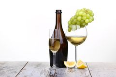 Various sorts of fruits. Grapes and glass of the white wine Royalty Free Stock Image