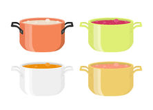 Various soups in pots. Meal with vegetables, meat. Flat style. Stock Photo