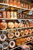 Various souvenirs of Vienna and Austria. Vienna, Austria- 30 August, 2015 : various souvenirs of Vienna and Austria on sale in Hundertwasser village 30 August in stock image