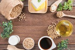 Various soy products with soy bean, oil, tofu, soy sauce and soy. Milk Stock Photography