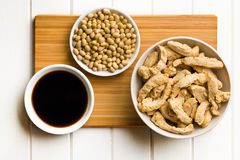 Various soy products in bowls. Top view of various soy products in bowls Royalty Free Stock Photos