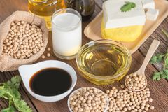 Various soy products with soy sauce, tofu, oil, soy bean and soy. Milk Royalty Free Stock Photos