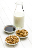 Various soy products. On white wooden table Stock Photos