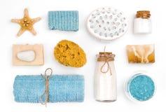Various spa και αντικείμενα wellness στο άσπρο υπόβαθρο στοκ εικόνες
