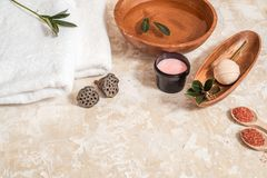 Various Spa And Beauty Threatment Products Isolated On White Background Royalty Free Stock Photos