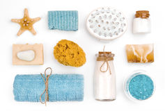 Various spa and wellness objects on white background stock images