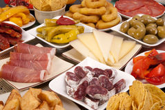 Various Spanish tapas Royalty Free Stock Images