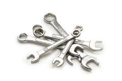 Various spanners isolated Royalty Free Stock Images