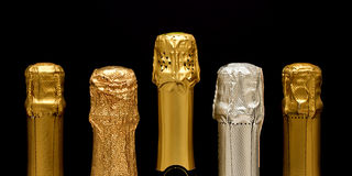 Various sparkling wine bottles Royalty Free Stock Photo