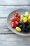Various species grapes on the gray plate Royalty Free Stock Image