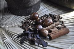 Various spice and herbal traditional concept Royalty Free Stock Images