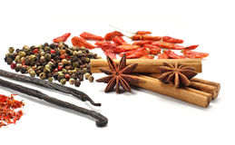 Various spices. Isolated on white background Stock Photo