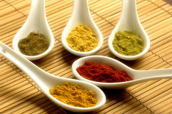 Various spices. White spoons with various kinds of spices over bamboo background stock photos