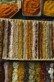 Various spices arranged in tray Royalty Free Stock Photography
