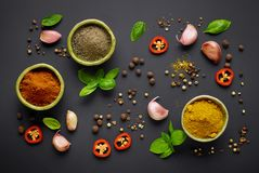 Various spices on black background Royalty Free Stock Photos