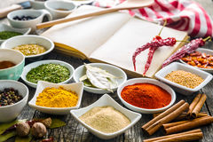 Various spices and blank cookbook. Royalty Free Stock Images