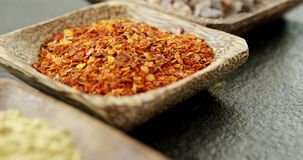 Various spices in bowl 4k. Close-up of various spices in bowl 4k stock footage