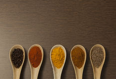 Various spices in ceramic spoon on wooden backgound Royalty Free Stock Photo