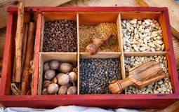 Various spices and condiments in boxed compartments used in eastern cooking with wooden serving spoons. Red wooden box with square compartments Royalty Free Stock Photography