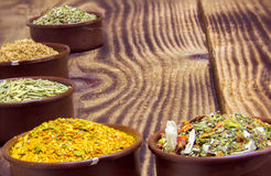 Various spices in containers Royalty Free Stock Photo