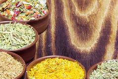 Various spices in containers Royalty Free Stock Photos
