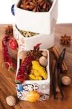 Various spices in decorative boxes Royalty Free Stock Photo