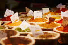 Various spices on farmer market. In France royalty free stock photo