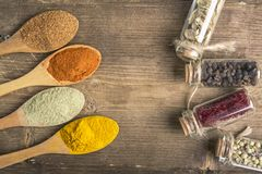 Various spices seeds stock photos