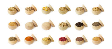 Various spices, grains, beans and herbs Royalty Free Stock Photography