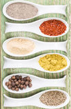 Various spices on green wooden table Royalty Free Stock Photography