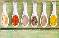 Various spices on green wooden table Stock Photography