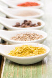 Various spices on green wooden table Royalty Free Stock Image