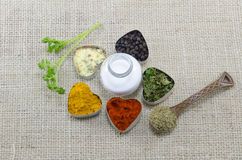Various spices in heart chaped containers with salt in the middl Stock Images